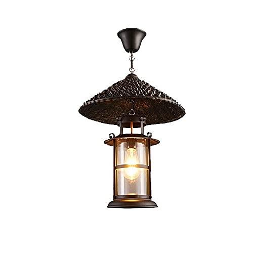 Kioiien Lámpara de techo Candelabros Cabeza simple retro colgante luz creativa sombrero de paja hierro lámpara de techo lámpara de techo país restaurante colgante iluminación creativo retro bar lámpar