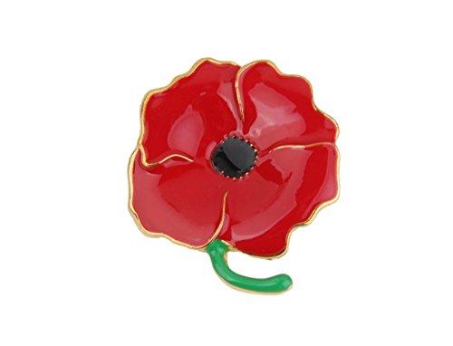 longsheng Broche de flor roja amapola broche de diamantes de imitación de aceite goteo diamante broche de las señoras