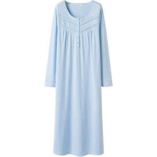 Keyocean Nightgown for Women 100% Cotton Long Sleeves Long Nightshirt Light Blue