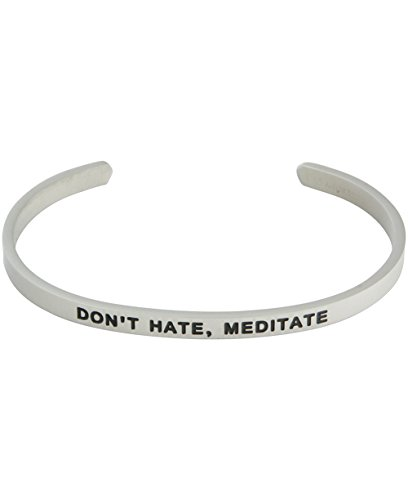 Buddha Groove Adjustable Don't Hate, Meditate Engraved Personal InspirationalMantra Mindful Cuff Bracelet | Made of Stainless Steel | 4 mm Wide, Open Design