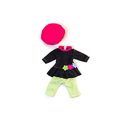 Miniland poppenkleding Gestreepte leggingen, bruine jurk met bloemen en muts Groen, bruin, roze.