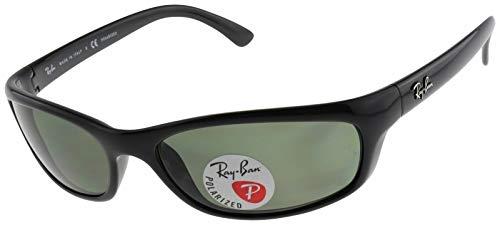 Ray-Ban Men's RB4115 Rectangular Sunglasses, Black/Polarized Green, 57 mm