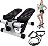 Jukkre Fitness Stair Stepper for Women and Man, Mini Stepper Air Climber Step Fitness Exercise Machine Height Adjustable Stepper with LCD Monitor and Resistance Bands