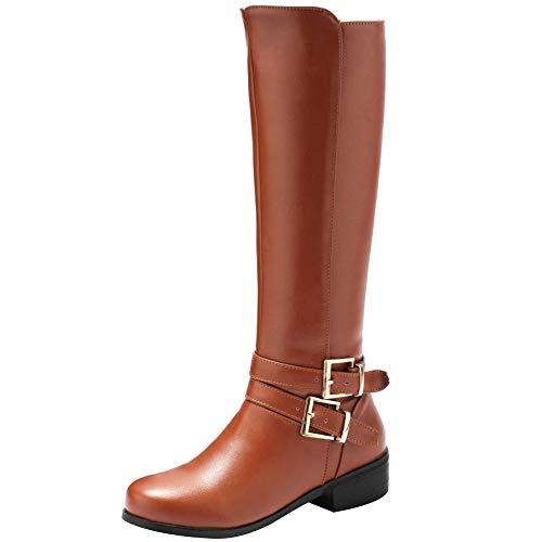 BeiaMina Mujer Casual Invierno Zapatos Plano Botas Rodilla Cremallera Equestrian Botas Tacones Bajos Antideslizante Botas Largas Clásico Hebillas Brown Tamaño 38