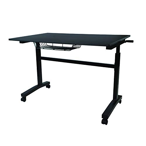 Atlantic Crank Adjustable Height Desk - Sit or Stand at This Large Workspace, Heavy Gauge Steel...