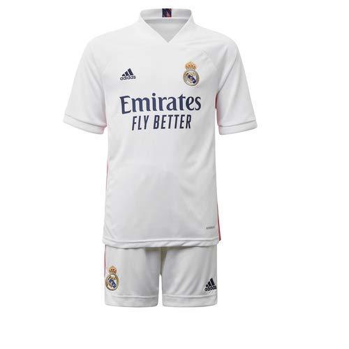 Adidas Real Madrid Temporada 2020/21 Equipación Completa Oficial, Niños, Blanco, 98 cm (2-3 años)