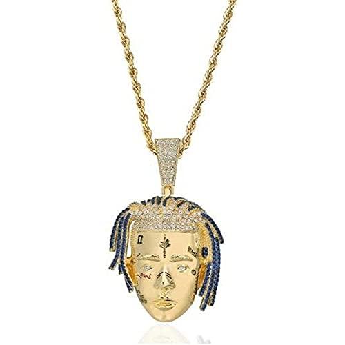Personalidad Rapper XXXTENTACION PENDIENTE Collar Collar de hombres Hip Hop Punk Gold Color Charms Regalos de joyería