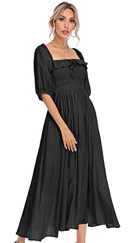 R.Vivimos Women Summer Half Sleeve Cotton Ruffled Vintage Elegant Backless A Line Flowy Long Dresses (Large, Black#1)