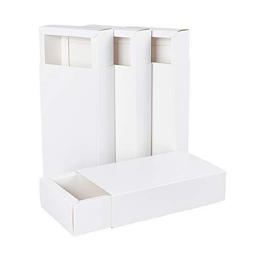BENECREAT 16 Pack Caja de Cartón Kraft Blanco Caja de Papel en Forma de Cajón 17.2x10.2x4.2cm Cajas de Regalo para Navidad, Aniversario, Envase de Joyería, Dulce, Regalo
