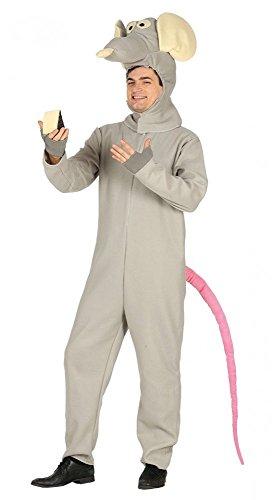 shoperama Lustiges Herren-Kostüm Ratte Ratatouille Erwachsene Overall JGA Karneval Fleece Junggesellenabschied, Größe:M