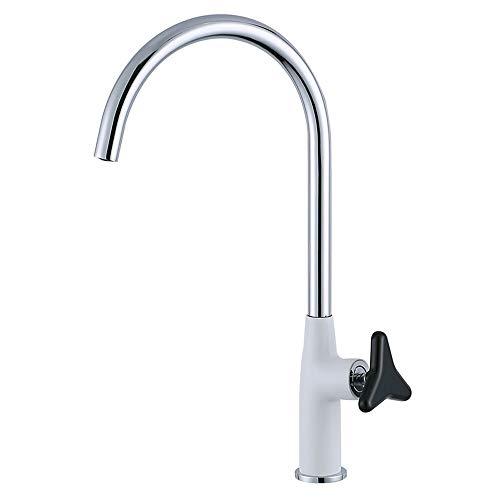 LOSYU Kitchen Sink Armaturen, Warm- und Kaltwassermischbatterien Modernes Messing einzigen Handgriff mit Drehgriff Paint Process Gooseneck eleganten und Retro Design