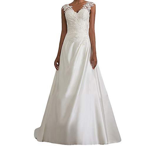 Lange Kleid Damen, 12shage Brautkleid Hochzeitskleider Damen Brautmode Festkleid Tüll Spitze A Linie Bodenlänge