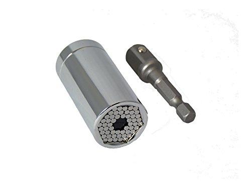 TRIXES Adaptateur Universel Chromé de Prise de Douille de 7 mm à 19 mm et Adaptateur d'Accessoire de Perceuse