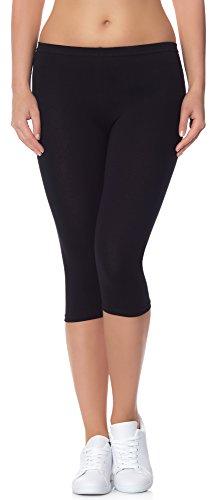 Ladeheid Damen Leggings aus Baumwolle 3/4 LAMA01 (Schwarz13, 4XL/5XL (Herstellergröße: 48/50))