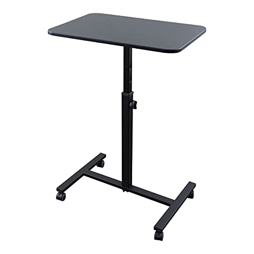 """Single Column Standing Desk   Laptop Stand - A Compact, Cost-Effective Rolling Workstation That Also Works Great as a Lectern/Podium (24"""") (Black)"""