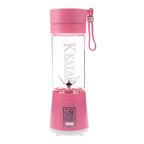 ZUEN Small Juice Extractor 6 Blades Handheld Blender Travel Camping Sports Fruit Vegetable Potable Juicer,Pink