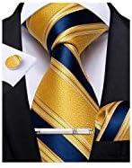 DiBanGu Mens Formal Striped Ties Blue and Gold Necktie Tie Clip Handkerchief Cufflinks Set product image