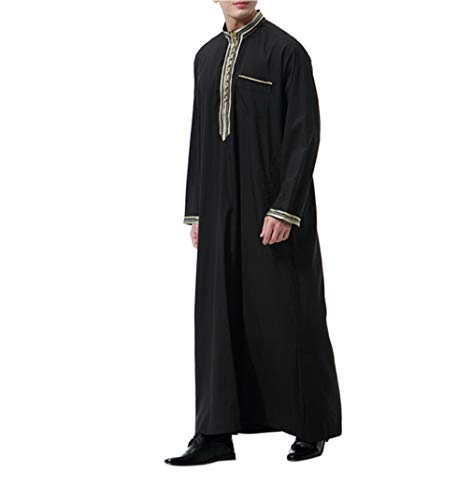 Ropa Árabe Hombre Abaya Musulmana - Manga Larga Maxi Vestidos Abrigos Largos Islámica Kaftan (Negro,M)