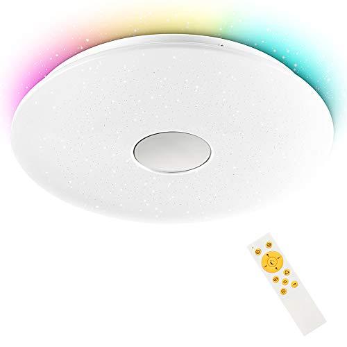 LED Deckenleuchte dimmbar RGB, 24W Sternenhimmel Deckenlampe Farbwechsel Helligkeitsstufen einstellbar mit Fernbedienung für Kinderzimmer Schlafzimmer Wohnzimmer Küche Party, Rund IP44 3000-6500K