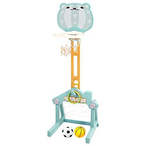 Basketball Hoop Canasta de Baloncesto Plegable, 3 en 1 Canasta Baloncesto Infantil, Juegos Exterior con Portería de Fútbol, Lanzamiento de Anillos (Color : Blue)