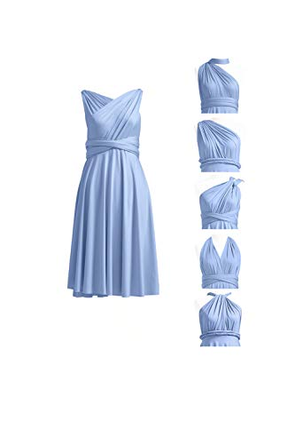 72STYLES Women Bridesmaid Short Off Shoulder Wedding Formal Gown Prom Party Maxi Dress Infinity Convertible Dress with Bandeau Plus Size Dusty Blue