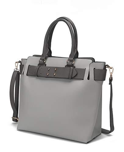 MKF Collection Millie Satchel Crossbody Shoulder Strap Bag by Mia K. Light Grey