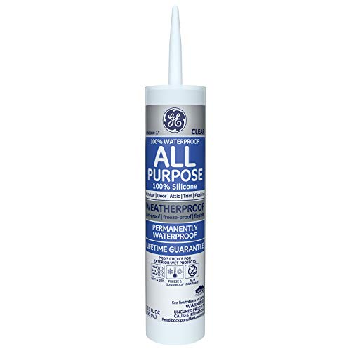 GE GE012A Silicone 1 All Purpose Sealant Caulk, 10.1oz, Clear - 12 Pack