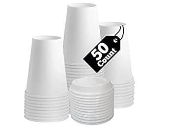 Smygoods White Paper Hot Cups 12oz Paper Hot Cups with Lids Coffee Cups & Tea Cups 50 Pack