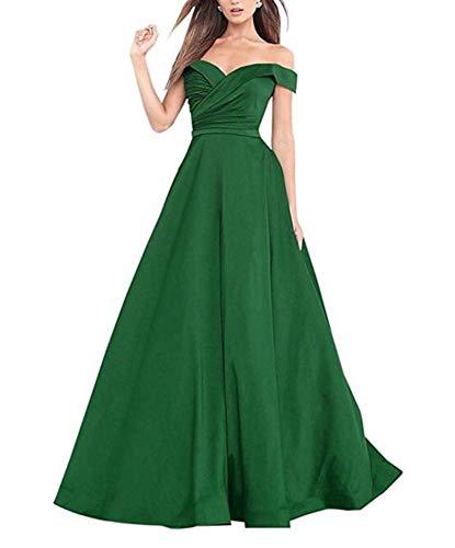 A-line-Satin-V-Neck-Prom-Dress-Off-The-Shoulder-Long-Formal-Evening-Gown