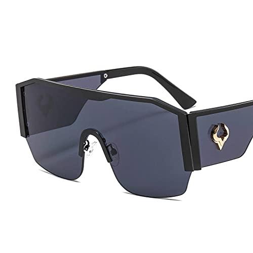 NC Gafas De Sol De Montura Grande De Una Pieza Gafas De Sol con DecoracióN De TóTem De Vaca Hombres Mujeres Gafas De Montar