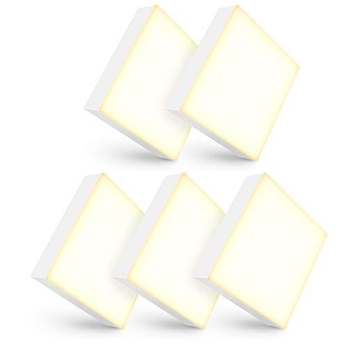 linovum Lot de 5 mini spots LED panilés - Plat - Lumière blanche chaude - 6 W - 230 V - 90 x 90 x 26 mm