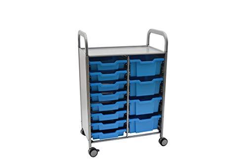 Gratnells Callero Plus Doppel-Trolley, stilvoll, modern, mobil, mit gebogenen Handgriffen & 8 flachen Ablagen & 4 tiefen Ablagen, Cyanblau