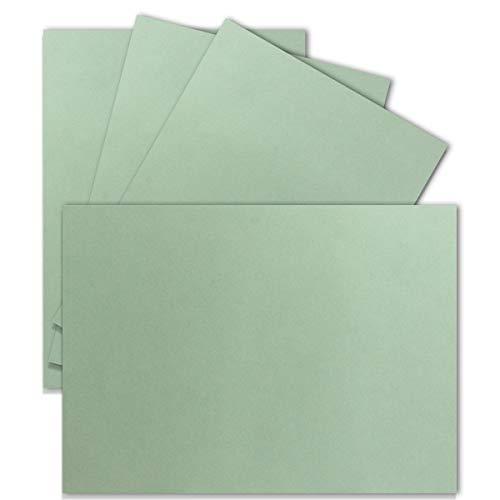 50 Einzel-Karten DIN A6-10,5 x 14,8 cm - 240 g/m² - Eukalyptus - Tonkarton - Bastelpapier - Bastelkarton- Bastel-Karten - blanko Postkarten