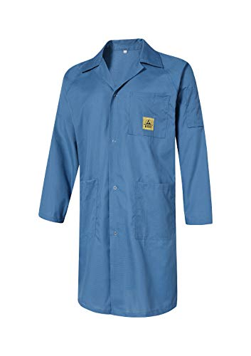 ESD Anti Static Lab Coat Lapel Collar Medical Jacket Smock Gown Non-Stretch Work Uniform for Men Women Navy
