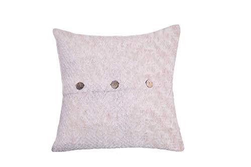 POPULAR LIFE HOME Aurora Mohair Fischgrätenkissen | Dekoratives quadratisches Kissen, klassischer Chevron-Kissenbezug, weich, flauschig, Überwurfkissen, rosa, 50,8 x 50,8 cm
