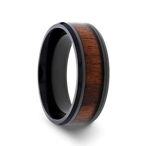 Thorsten Kony   Titanium Rings for Men   Lightweight Titanium   Comfort Fit   Black Titanium Polished Beveled Edges Black Walnut Wood Inlaid Men's Wedding Ring - 8 mm