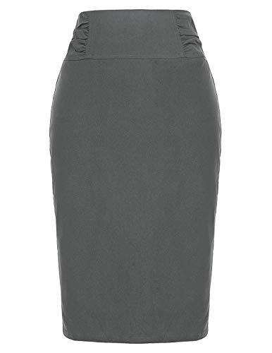 Women's Elastic Waist Stretch Bodycon Midi Pencil Skirt Grey,XL