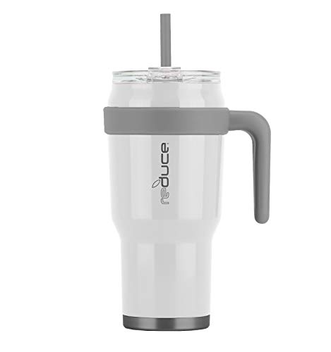 Reduce Tumbler – 40 oz Tumbler With Straw and Lid and Handle, 34 Hours Cold – Vacuum Insulated, Sweat-Proof Body – Large Insulated Mug for Cold and Hot Drinks – White, Opaque Gloss