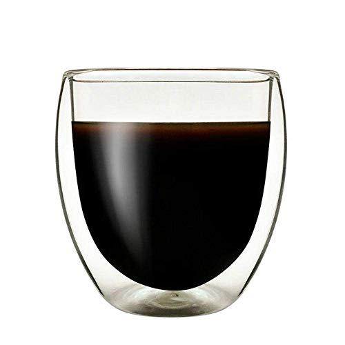 Dubbellaags koffiekop verbrandingsbeveiliging melksap hete kop hittebestendig borosilicaat glas wijn, 240 ml-250 ml lili (Size : 240ml250ml)