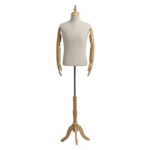 Unbekannt QAZ~Schaufensterpuppe + Base, Männliches Model Büste Kleid Kleidform Schaufensterpuppe Torsokörper Plastikwaffe Holzbasierte Virtuelle Realität