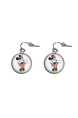 Pendientes de colgar de Acero, Diámetro 20mm, Hecho a Mano Ilustración Minnie Mouse 3