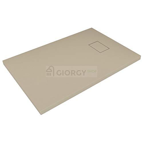 Piatto doccia 80x160 Tortora beige H.2.6 cm effetto pietra ardesia SMC in resina termoformata.