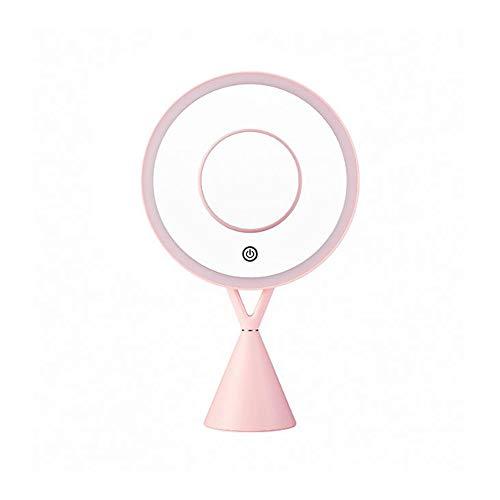Miroir de Maquillage Lumineux, Miroir de Cosmétique avec 1x/5x Grossissant, Lampes à Écran Tactile et Recharge USB, avec Dimmable Lumière Naturelle pour Le Maquillage,Rose