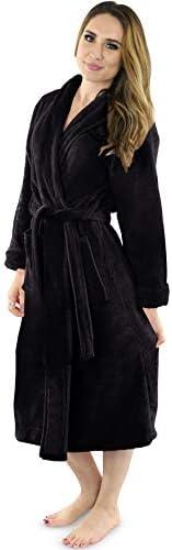 NY Threads Women s Fleece Bathrobe Shawl Collar Soft Plush Spa Robe X Large Black product image