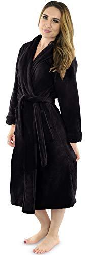 NY Threads Women's Fleece Bathrobe - Shawl Collar Soft Plush Spa Robe (Small, Black)