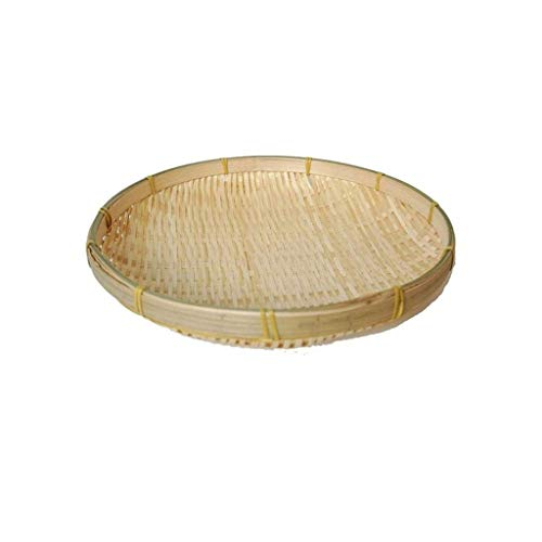 LHjin-Contenedores de Pan, Bambú Bread Basket, Bandeja de Almacenamiento de Picnic Ronda, Ronda de bambú de la Armadura de artículos Varios de contenedores, Bandeja de Almacenamiento de Cocina