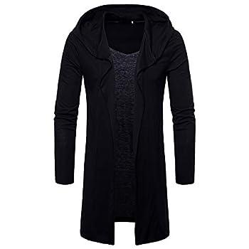 MODOQO Men s Long Hoodie Lightweight Long Sleeve Solid Cardigan Jacket Coat  Black,M