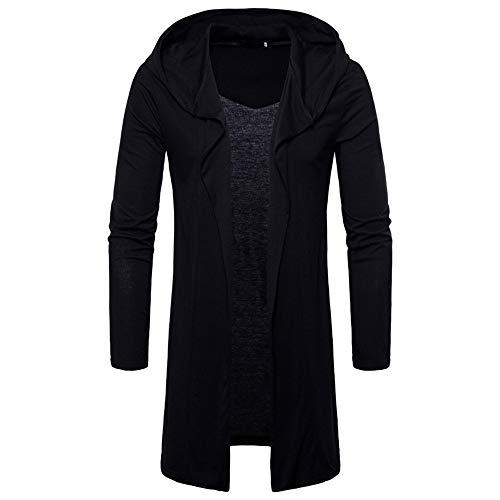 MAYOGO Herren Strickjacke Long Hooded Open Edge Cardigan Sweatshirt (Schwarz, XL)