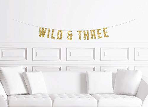 Cartel de tercer cumpleaños con purpurina dorada, diseño de bosque salvaje y tres banderines con temática de bosque salvaje para fiesta de niños, 3ª bohemia Safari Jungle Ideas