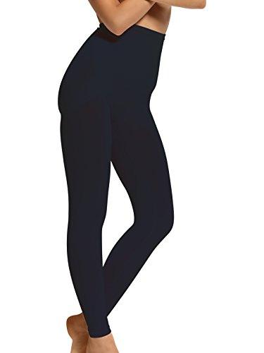 SENSI' Leggings Modellante Donna Comfort Push Up Microfibra Senza Cuciture Seamless - Made in Italy (S-M, Nero)
